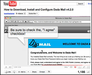 View how to install Dada Mail on Youtube